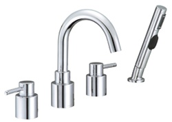 Gerber G8-312 Wicker Park™ Roman Tub Faucet with Contemporary styling, Hand Shower and Ceramic disc cartridges, Chrome