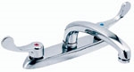 Gerber - COMCL 2 HANDLE KITCHEN FAUCET DECK CER WRIST BLADE HANDLES L/SPRAY - CHROME