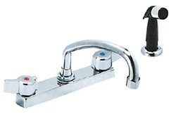Gerber C4-44-556 Two Handle Commercial Kitchen Faucet with Side Spray, High Rise Spout and Vandal proof metal lever handles