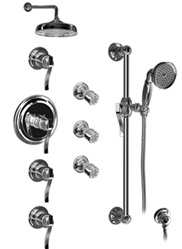 Graff - GA1.2-LM20S-OB-T - Bali Traditional Thermostatic Set with Handshower and Body Sprays- Trim Only