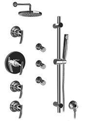 Graff - GB1.0-LM24S-PC - Tranquility Contemporary Round Thermostatic Set with Handshower and Body Sprays