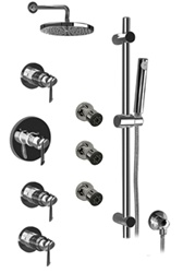 Graff - GB1.0-LM25B-PC-T - Atria Contemporary Round Thermostatic Set with Handshower and Body Sprays- Trim Only
