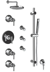 Graff - GB1.0-LM27S-BN-T - Tango Contemporary Round Thermostatic Set with Handshower and Body Sprays- Trim Only