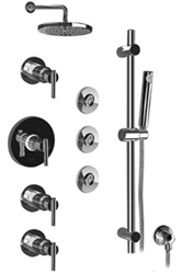 Graff - GB1.1-LM27S-SN-T - Tango Contemporary Thermostatic Set with Handshower and Flush Mount Body Sprays- Trim Only