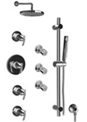 Graff - GB1.2-LM24S-PC-T - Tranquility Contemporary Thermostatic Set with Handshower and Body Sprays- Trim Only