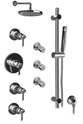 Graff - GB1.2-LM25B-SN - Atria Contemporary Thermostatic Set with Handshower and Body Sprays