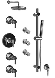 Graff - GB1.2-LM27S-BN-T - Tango Contemporary Thermostatic Set with Handshower and Body Sprays- Trim Only