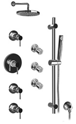 Graff - GB1.2-LM30B-SN-T - Viva Contemporary Thermostatic Set with Handshower and Body Sprays- Trim Only