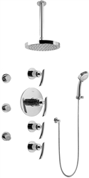 Graff GB1.231A - Contemporary Round Thermostatic Set w/Body Sprays & Handshower (Rough & Trim)