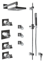 Graff - GC1.0-C10S-SN-T - Fontaine Contemporary Square Thermostatic Set with Handshower and Body Sprays- Trim Only
