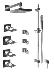 Graff - GC1.0-C14S-SN - Targa Contemporary Square Thermostatic Set with Handshower and Body Sprays