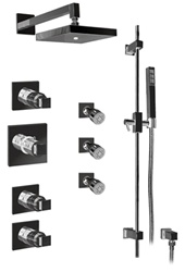 Graff - GC1.0-C8S-PC-T - Manhattan Contemporary Square Thermostatic Set with Handshower and Body Sprays- Trim Only
