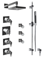 Graff - GC1.0-LM23S-SN-T - Stealth Contemporary Square Thermostatic Set with Handshower and Body Sprays- Trim Only