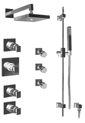 Graff - GC1.0-LM31S-SN - Solar Contemporary Square Thermostatic Set with Handshower and Body Sprays