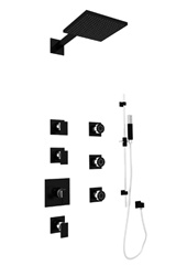 Graff - GC1.0-LM31S-PC/BK - Solar Contemporary Square Thermostatic Set with Handshower and Body Sprays- Rough and Trim