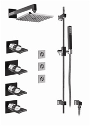 Graff - GC1.1-C14S-SN-T - Targa Contemporary Thermostatic Set with Handshower and Flush Mount Body Sprays- Trim Only