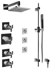 Graff - GC1.1-C9S-BN-T - Immersion Contemporary Thermostatic Set with Handshower and Flush Mount Body Sprays- Trim Only