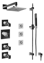 Graff - GC1.1-LM31S-BN - Solar Contemporary Thermostatic Set with Handshower and Flush Mount Body Sprays