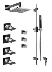 Graff - GC1.2-C14S-PC - Targa Contemporary Thermostatic Set with Handshower and Body Sprays