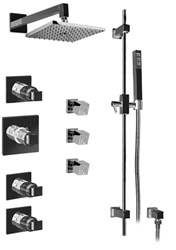 Graff - GC1.2-C8S-BN-T - Manhattan Contemporary Thermostatic Set with Handshower and Body Sprays- Trim Only
