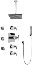 Graff GC1.221A - Contemporary Square Thermostatic Set w/Body Sprays & Handshower (Rough & Trim)