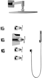 Graff GC1.222A - Contemporary Square Thermostatic Set w/Body Sprays & Handshower (Rough & Trim)