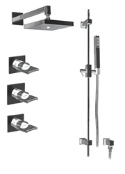 Graff - GC2.0-C14S-BN - Targa Contemporary Square Thermostatic Set with Handshower
