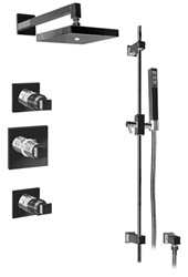 Graff - GC2.0-C8S-BN - Manhattan Contemporary Square Thermostatic Set with Handshower