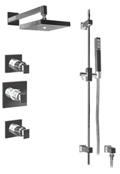Graff - GC2.0-LM31S-PC-T - Solar Contemporary Square Thermostatic Set with Handshower- Trim Only
