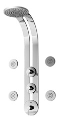 Graff - GD1.0-LM29B-PC-T - Eco Round Thermostatic Ski Shower Set with Body Sprays-T
