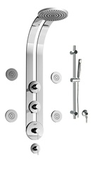 Graff - GD1.2-LM3B-SN-T - Perfeque Round Thermostatic Ski Shower Set with Body Sprays and Handshower- Trim Only