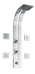 Graff - GD2.0-LM23S-SN-T - Stealth Square Thermostatic Ski Shower Set with Body Sprays- Trim Only