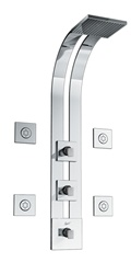 Graff - GD2.0-LM31S-SN - Solar Square Thermostatic Ski Shower Set with Body Sprays