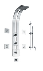 Graff - GD2.2-C8S-SN - Manhattan Square Thermostatic Ski Shower Set with Body Sprays and Handshower
