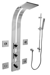 Graff - GD2.2-LM23S-SN - Stealth Square Thermostatic Ski Shower Set with Body Sprays and Handshower