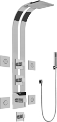 Graff GE1.120A - Square Thermostatic Ski Shower Set w/Body Sprays & Handshower