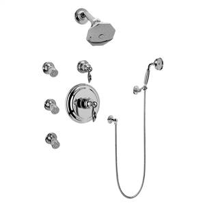 Graff GH5.222B-LM14S-PC Full Thermostatic Shower System with Transfer Valve (Rough & Trim), Steelnox (Satin Nickel)