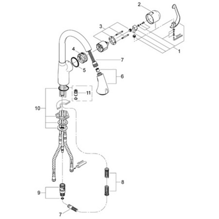 Grohe Ladylux Cafe 33 758 Pull Out Faucet Parts