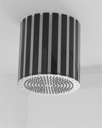 Jaclo 12R-LV-102 Lumiere Circolare 12-inch Diameter Vertical Silver Striped Rain Canopy with 228 Jets and Internal LED Light
