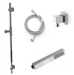 Jaclo 873-470-701 CUBIX Hand Shower and Wall Bar Kit with Round Hose - With Supply Elbow