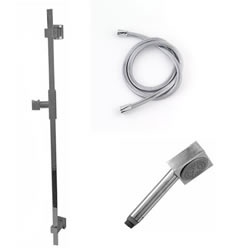 Jaclo 873-476-31 CUBICA Hand Shower and Wall Bar Kit with Square Hose - No Supply Elbow
