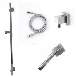 Jaclo 873-476-31-701 CUBICA Hand Shower and Wall Bar Kit with Square Hose - With Supply Elbow