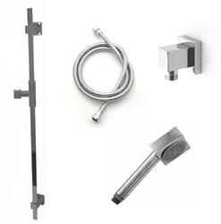 Jaclo 873-476-701 CUBICA Hand Shower and Wall Bar Kit with Round Hose - With Supply Elbow