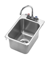 Krowne HS-1419 - Drop-In Hand Sink, 1 Compartment, 12-1/4-inch x 18-inch OA, 10-3/8-inch x 14-inch x 9-inch Deep Bowl, w/Deck Mounted 6-inch Gooseneck Faucet, 1-1/2-inch Drain, Stainless Steel Construction (10-inch x 14-inch Cutout)