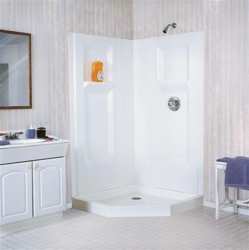 Mustee 742C DURAWALL Fiberglass Corner Shower Wall