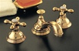 Strom Plumbing P0345S St. Lawrence Supercoat Polished Brass Widespread Lavatory Faucet with Cross Handles and Pop-Up Drain. Cross handles have porcelain button for hot and cold.