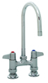 T&S Brass - 5F-4DLX05 - Faucet, Deck Mount, 4-inch Centers, 5-1/2-inch Swivel Gooseneck