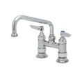 T&S Brass - B-0227-CC - Double Pantry Faucet, Deck Mount, 4-inch Centers, 8-inch Swing Nozzle (060X), 1/2-inch NPT Male Inlets