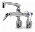 T&S Brass - B-0243 - Double Pantry Faucet, Wall Mount, Adjustable Centers, Integral Stops, 6-inch Cast Spout