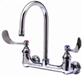 T&S Brass - B-0330-04 - Double Pantry Faucet, Wall Mount, 8-inch Centers, Rigid Gooseneck, 4-inch Wrist Action Handles